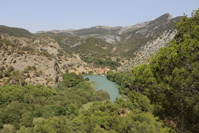 Alfonso XIII Beauty In Nature Caminito Del Rey Clear Sky Mountain Mountains Nature Photography Nature_collection Non-urban Scene Outdoors Panoramic Photography Pantano Pasarelas Pasarelas Colgantes River Scenics Tranquil Scene Tranquility Tree Water
