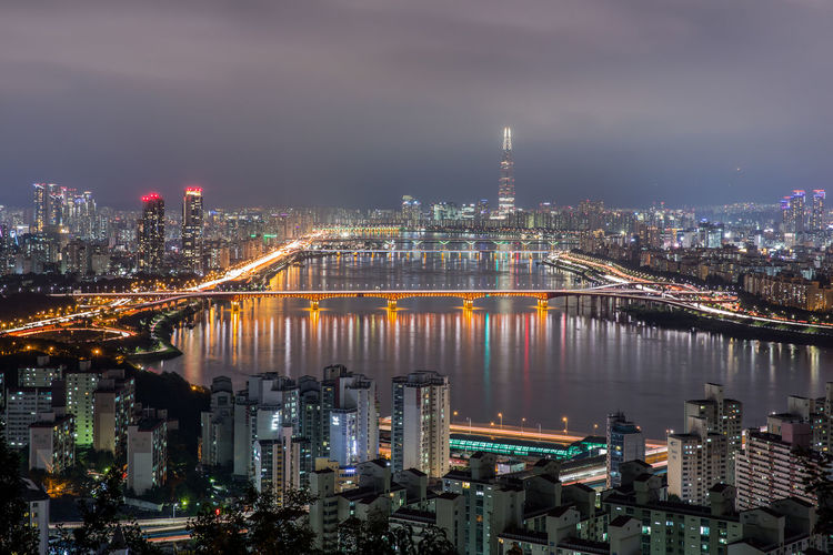 seoul Cityscape Night Seoul_korea Han River Bridge Han River Beauty In Nature High Angle View
