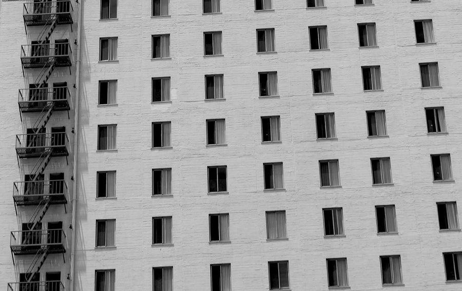 Losangeles Los Angeles, California DowntownLA Urban Windows Fire Escape Building Building Exterior Blackandwhite City Streetphotography Patterns Repetition Horizontal