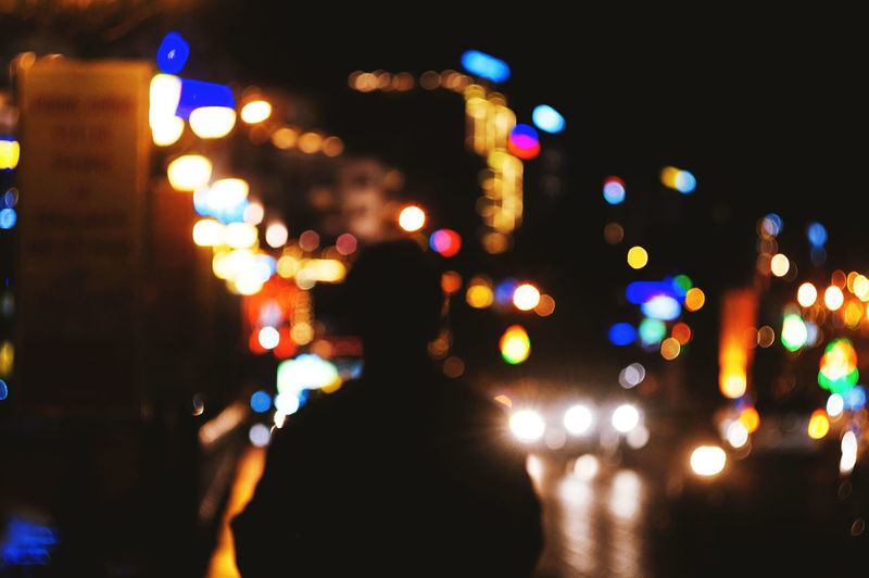 City Close-up Defocused Glowing Illuminated Lighting Equipment Night One Person Outdoors Real People