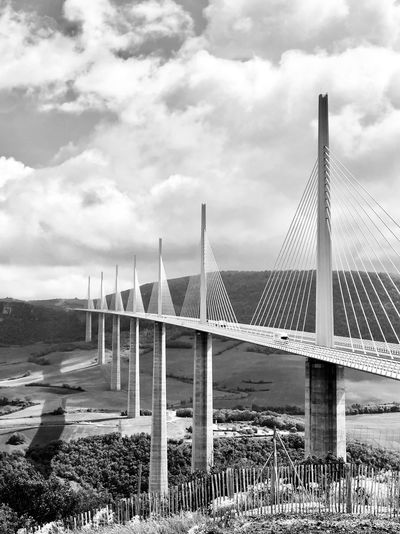 Millau bridge Travel Photography Bnw_life Blackandwhite Bnw_collection Bnw_bridges_not_borders Bnw_friday_eyeemchallenge Sky Cloud - Sky Built Structure Architecture Nature Day No People Bridge - Man Made Structure