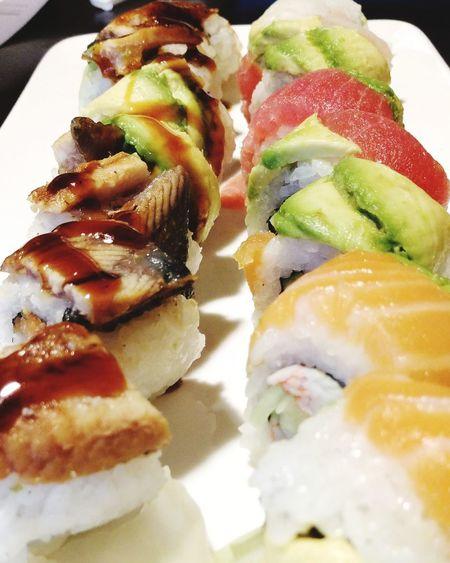 sushi Appetizer Sushi Gourmet SLICE Plate Seafood Homemade Healthy Lifestyle Stuffed Close-up Sashimi