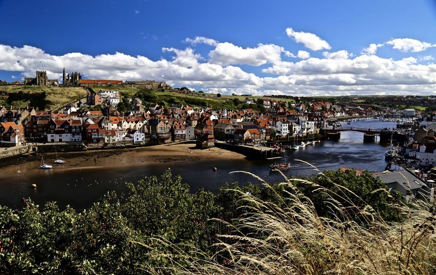 Panoramic of Whitby Harbour. North Yorkshire. Architecture Built Structure Cloud - Sky Harbor High Angle View Sea Sky Tourism Town Travel Water Wide Shot