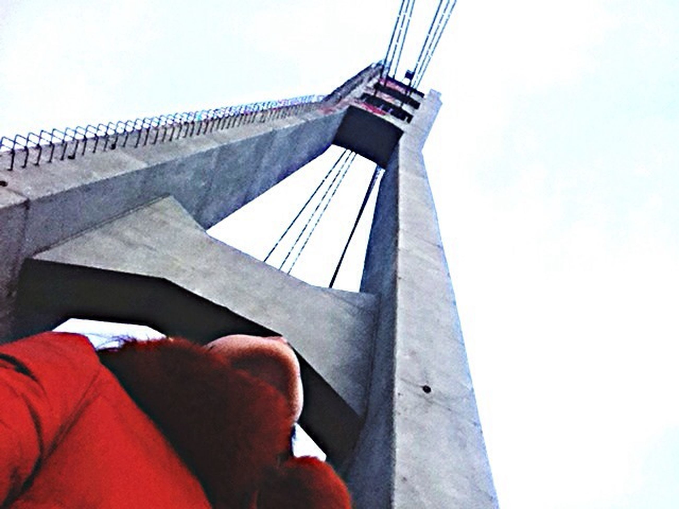 transportation, low angle view, part of, nautical vessel, sky, built structure, cropped, mode of transport, boat, travel, architecture, connection, engineering, clear sky, bridge - man made structure, day, men, outdoors