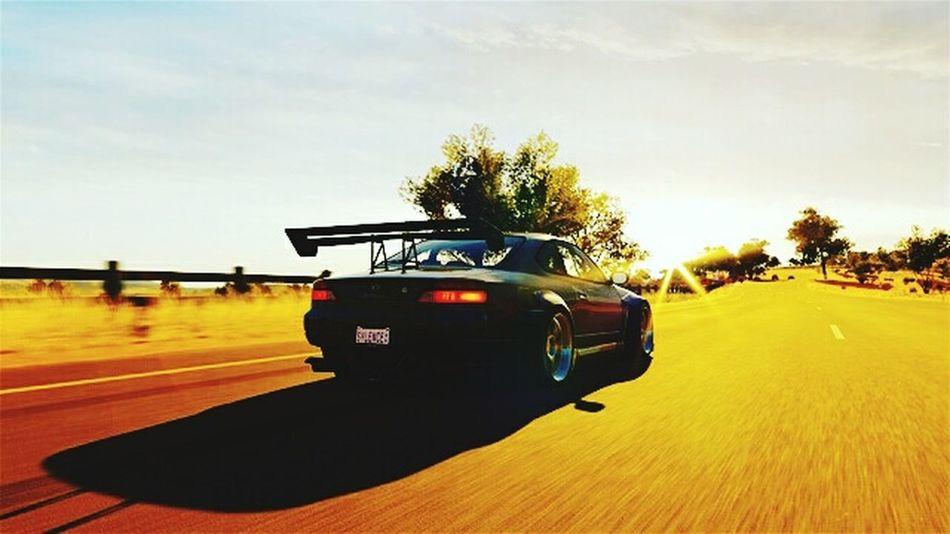 Cars Nissan Silvia Spec-r Sunrise Horizon Highway Driving Road Sunlight Landscape Outdoors Sun Vehicle Car