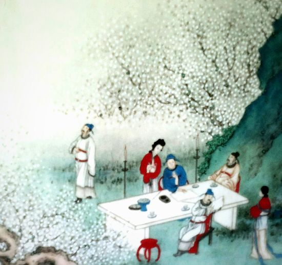 Spring Picnic Easter Ready Family Portrait Cherry Blossoms Chinese Painting Chinese Culture Antique Painting On Silk Things I Like