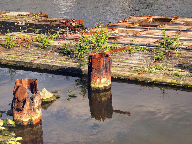Broken Day Deterioration Green Lake Light Nature No People Old Old Harbour Outdoors Plant Reflection Rippled Rust Rusty Shadows & Lights Shore Standing Water Tranquil Scene Tranquility Water Wood Wooden Post