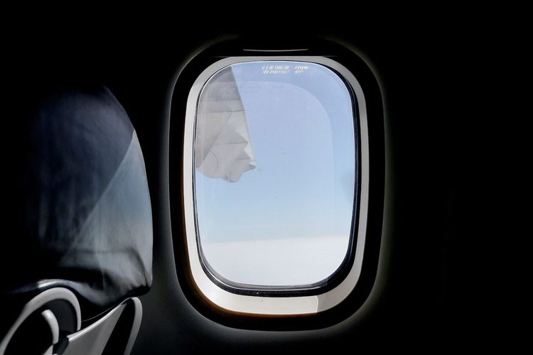 Close-up of airplane window