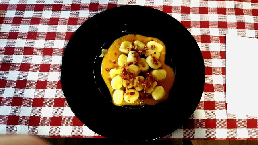 Directly Above Food And Drink Healthy Eating Food Ready-to-eat Gnocchi Di Patate Pumpkin Zucca Plate Of Food Food Stories