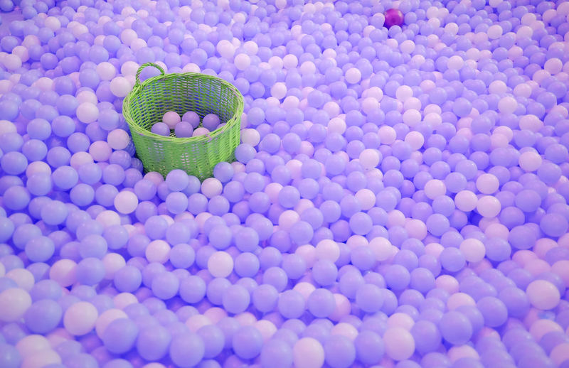 High angle view of balls in basket