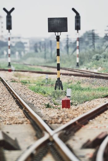 Clear Sky Close-up Day Landscape Nature No People Outdoors Rail Transportation Railroad Track Railway Signal Railway Track Sky Transportation
