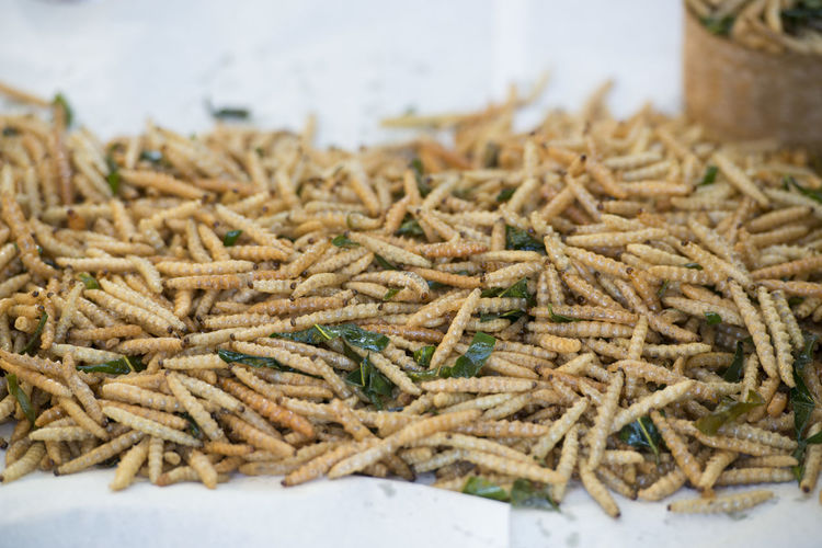 Close-up of fresh fried worms on wax paper at market stall