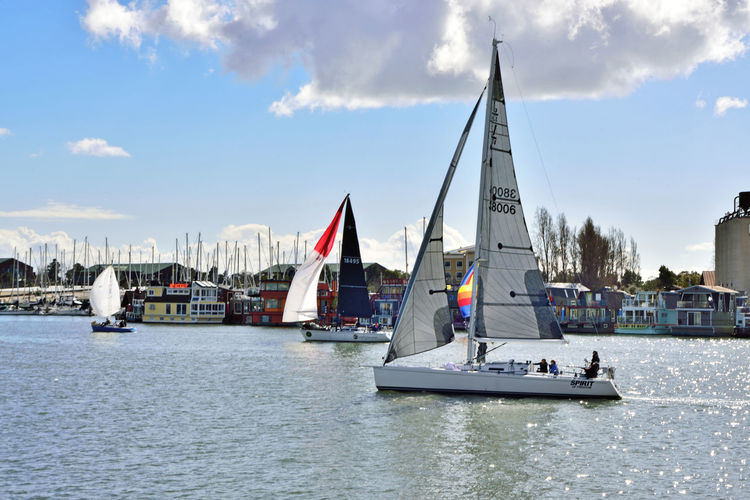 Sailing Embarcadero Cove 3 Port Of Oakland,Ca. Jack London Square Marina Sailboats Sailing Embarcadero Cove Sports Photography Racing Yachts Open Sails Riding The Winds Colorful Sails People On Board Enjoying Life Waterfront♥ Houseboats Moored Boats Masts Boat Launch Sky And Clouds Nautical Vessel Water Sports Race Competition Harbor Dock Yachting