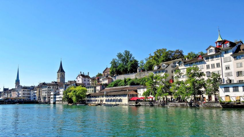 Limmat Architecture Blue Building Exterior Built Structure Clear Sky Limmat Limmatquai Outdoors River Schweiz Switzerland Water Waterfront Zürich