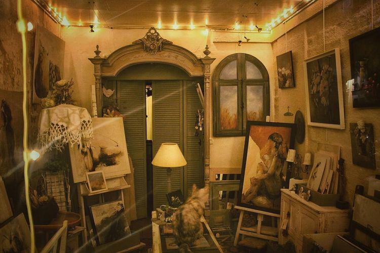 Paris Windowshopping Vintage Cat Shop Montmartre Romantic France Atelier Paintings