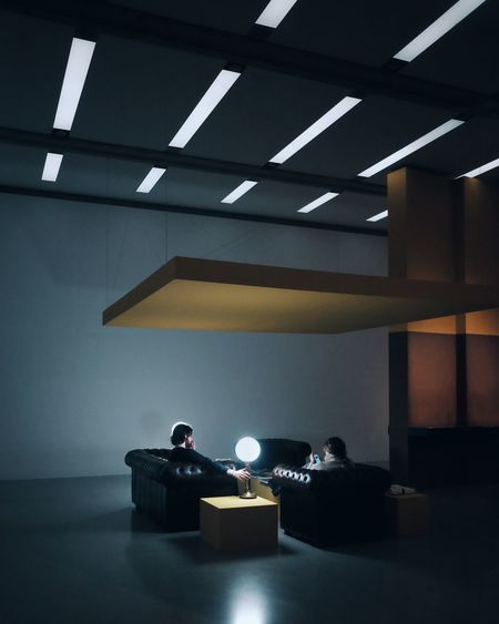 Gallery Indoors  Illuminated Lighting Equipment No People Ceiling Built Structure Humanity Meets Technology Wall - Building Feature Decoration Electric Light Empty Architecture Night