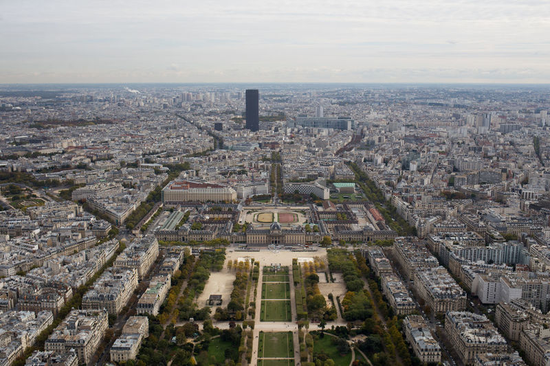 High angle view of champ de mars amidst cityscape