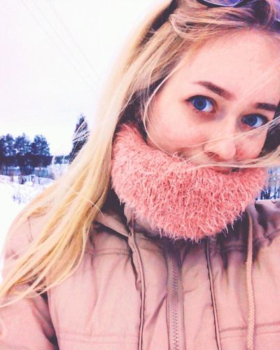 Russian spring Cold Temperature Snow One Person Warm Clothing Portrait Headshot Adult Looking At Camera One Woman Only People Adults Only Blond Hair Only Women Outdoors Close-up Day One Young Woman Only Young Adult