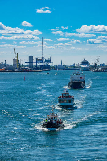 Ships in Rostock, Germany. Cloud - Sky Day Maritime Mode Of Transport Nature Nautical Vessel No People Outdoors River Rostock Sea Sky Tourism Transportation Travel Destinations Vacation Vessel Warnemünde Warnow Water Waterfront