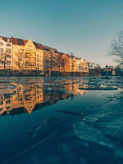 Berlin Architecture Building Exterior Built Structure Reflection Clear Sky Outdoors Water No People Waterfront Residential Building Day Sky City Scenics