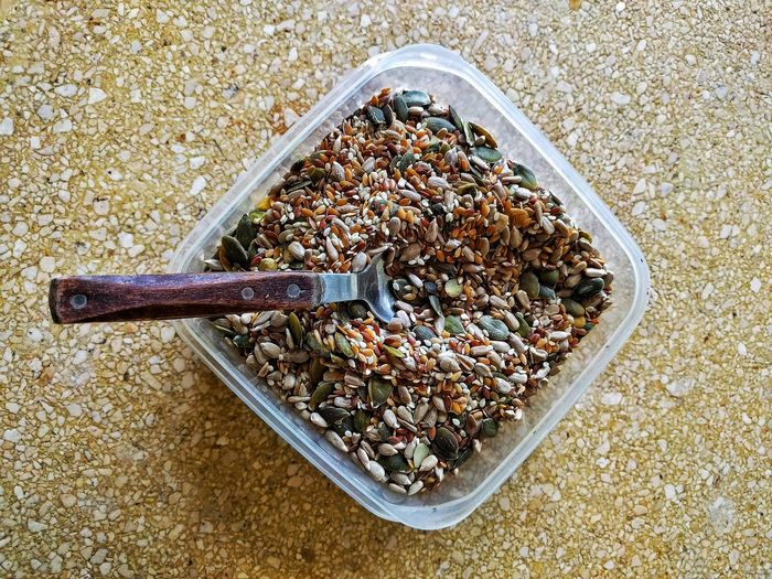 Directly above shot of seeds in plastic container