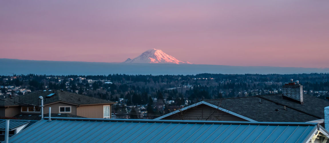 Mount Rainier from Des Moines, Washington. Mount Rainier Pacific Northwest  Architecture Beauty In Nature Building Exterior Built Structure Day Mountain Mountain Range Nature No People Outdoors Scenics Sky Sunset