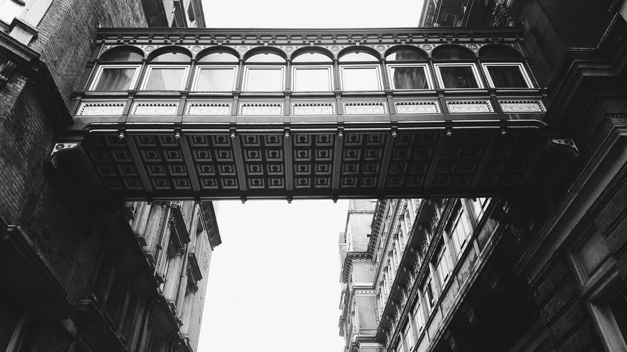 Low Angle View Architecture Built Structure Sky Outdoors No People Steps And Staircases Day Blackandwhite London Biancoenero Londra Streets