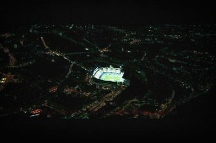 Madrid from air. Madrid Night Vicente Calderon Soccer Stadium