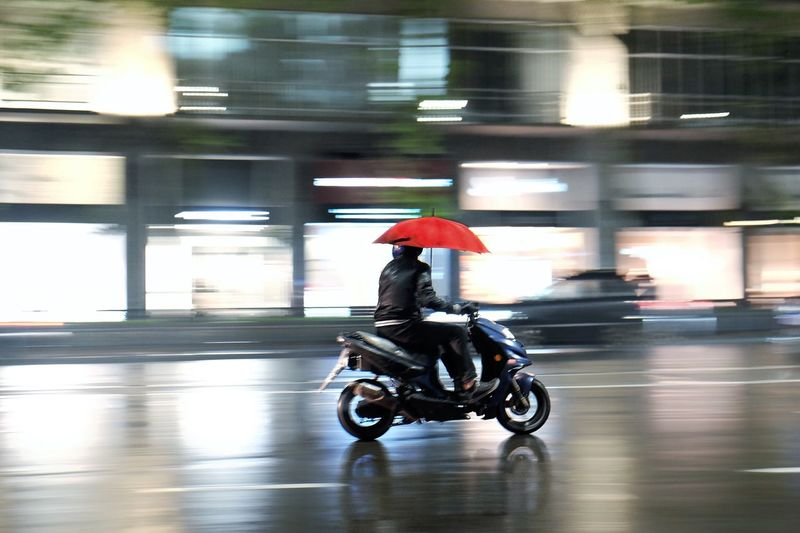Red umbrella and scooter against rain. Motion Blurred Motion Motorcycle Transportation Speed One Person Riding Photodeme Georgia Tbilisi Red Umbrella City Fujifilm Fujilook Men Mode Of Transport Outdoors Mix Yourself A Good Time EyeEmNewHere EyeEmReady EyeEm Ready
