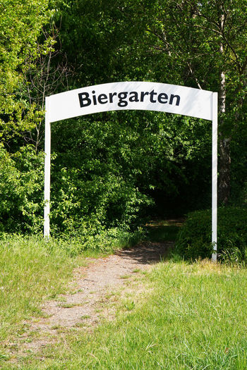 No People Day Outdoors Germany Text Western Script Nature Sign Gate Biergarten Beergarden  German Footpath Greenery Entrance