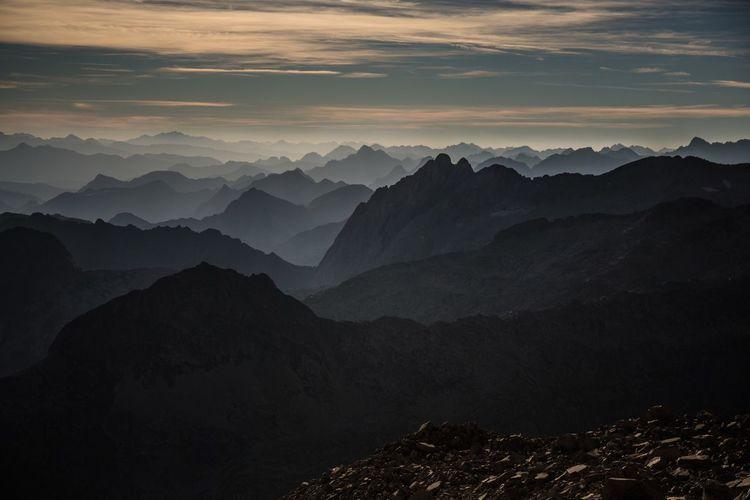 Idyllic shot of pyrenees against sky