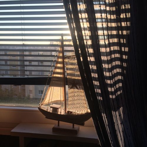This is the right time Window Sunset Light And Shadow Curtains Maritime Decoration Rostock Hansestadt Rostock Ostseeliebe