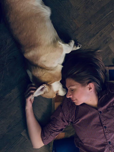 My dears. sleeping dog and wife