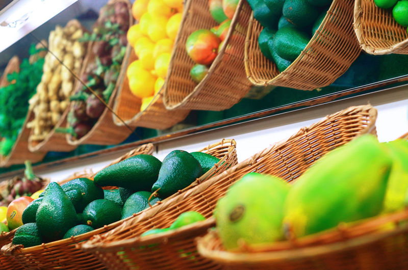 Close-Up Of Various Fruits For Sale At Market