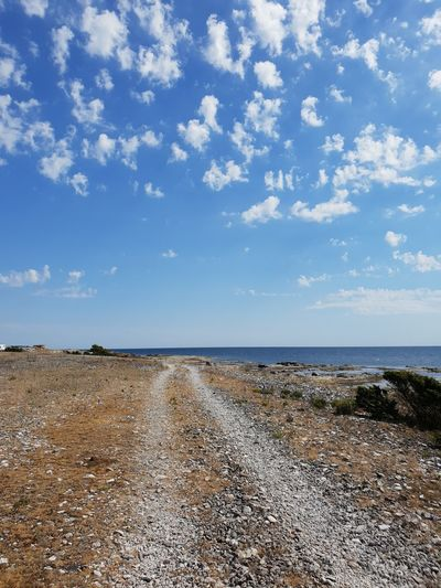 Gotland Sweden Playa Water Sea Beach Low Tide Summer Blue Pebble Sky Horizon Over Water