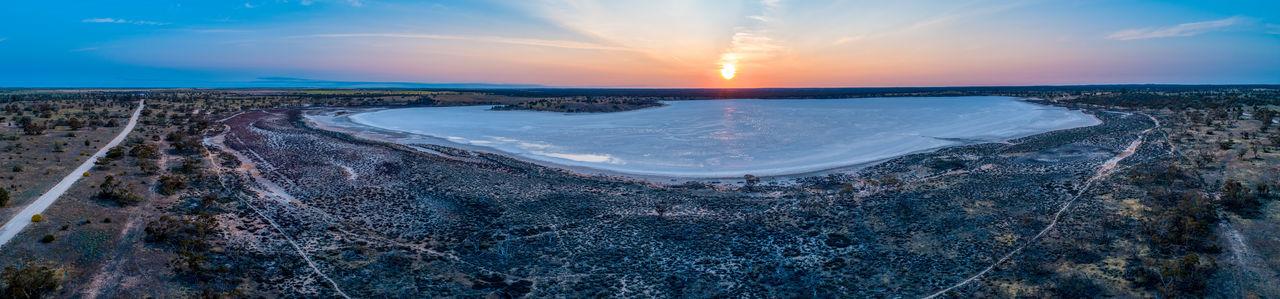 Salt lake at sunset - aerial landscape