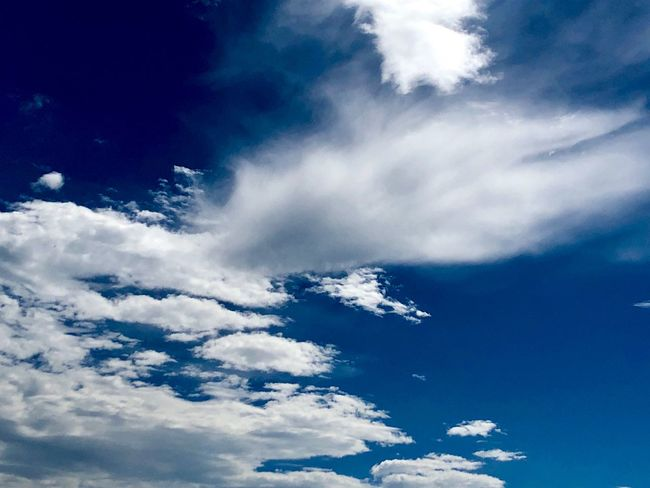 A Beautiful Cloudscape. (180821-181004) Cloud - Sky Sky Low Angle View Blue Beauty In Nature Nature Tranquility Tranquil Scene Scenics - Nature Cloudscape Heaven White Color Fluffy Idyllic Backgrounds Day Outdoors No People