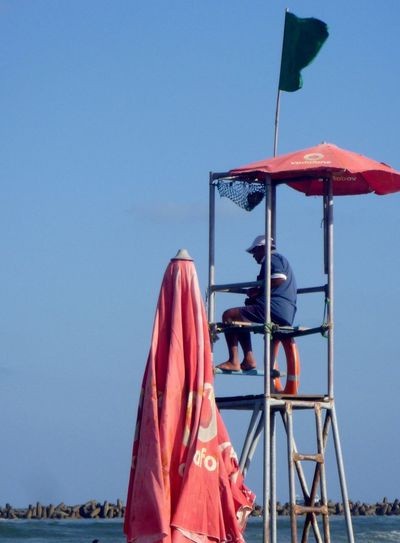 Beach Guard Egypt Landscape Outdoors Ras El Bar Sea And Sky Sign Is Green Summer Time