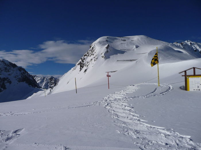 Blue Sky La Mongie Mountain No People Ski Snow Trace White