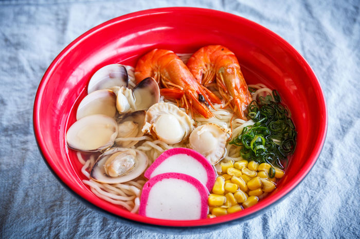 Asian Food Bowl Chinese Food Close-up Crustacean Directly Above Food Food And Drink Freshness Healthy Eating High Angle View Indoors  Italian Food Japanese Food Meat No People Pasta Ramen Ready-to-eat Seafood Seafood Noodle Shrimp - Seafood Vegetable Wellbeing