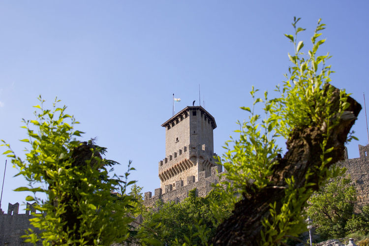 the first tower in the republic of San marino Republic Of San Marino Travel Ancient Architecture Architecture Attraction Building Exterior Built Structure Clear Sky Copy Space Fortress Wall Guaita History Landmark Low Angle View Medieval Architecture Nature No People Outdoors Plant Roman Sky Sunlight The Past Tower Tree