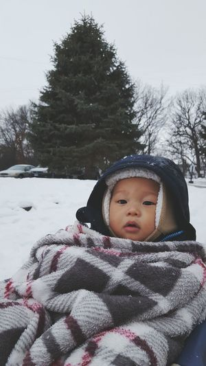 Chubby Son Boy Babyboy Child Baby Asian  Adventure Winterwonderland Cold Snow Winter Outside Wagon