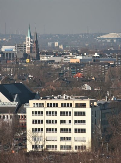 Aerial View Blick Von Der Halde Rheinelbe Building Exterior Church Cityscape No People Outdoors Stadion Urban Skyline