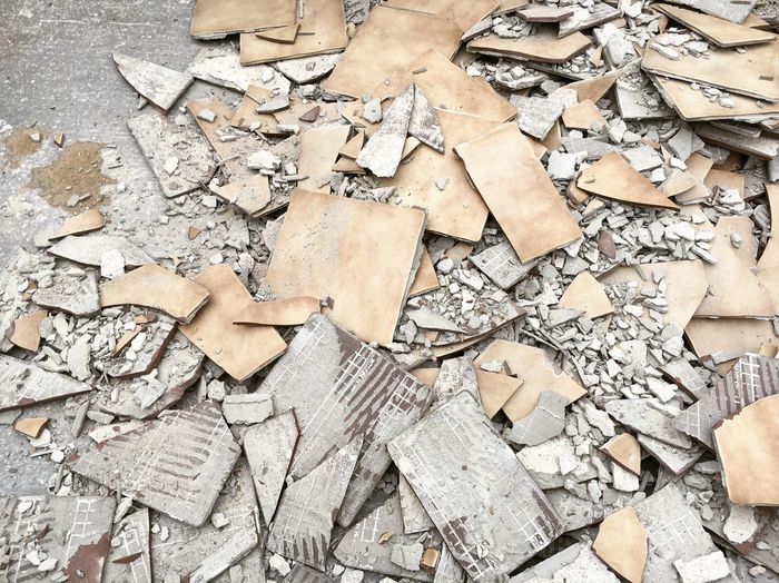 High angle view of rubble on street