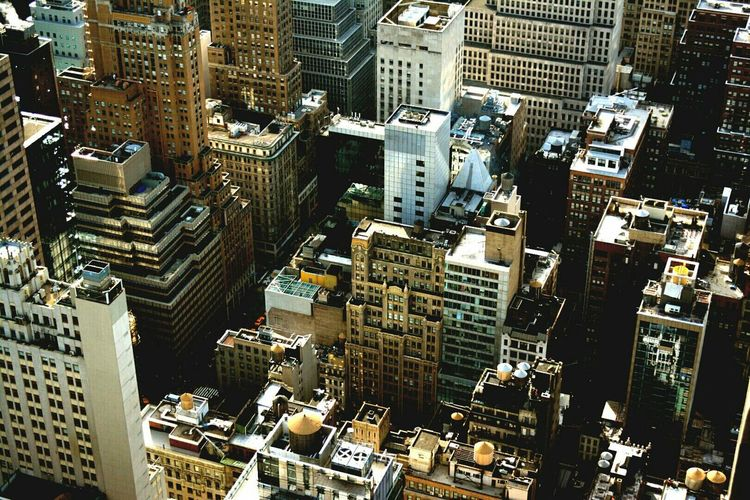 Elevated view of skyscrapers