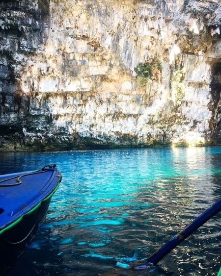 Melissani Cave Water Nautical Vessel Mode Of Transportation Transportation Day Nature Moored Beauty In Nature Outdoors Tranquil Scene Lake Waterfront Tranquility No People Rowboat Scenics - Nature Rippled Reflection First Eyeem Photo