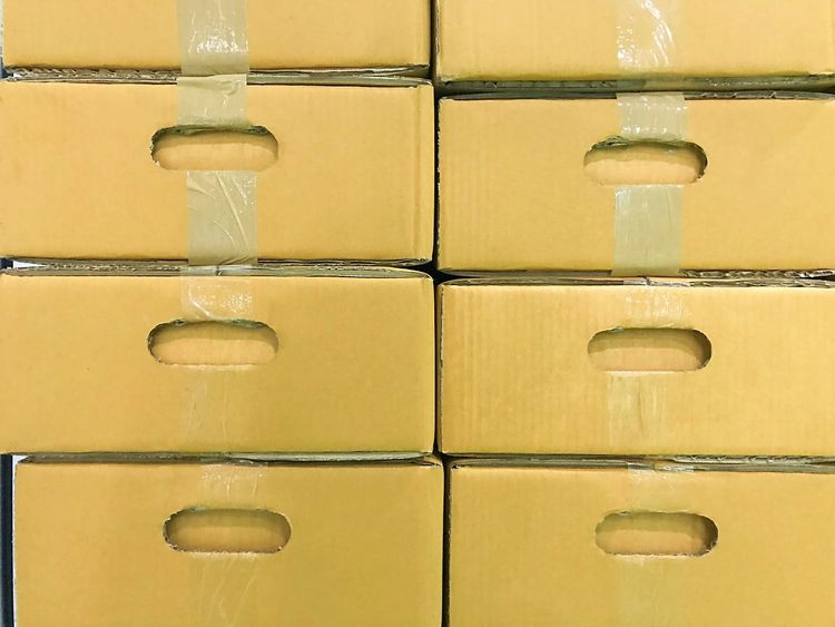 Carton box. For packing, transportation, packing for sale. Carton Box. Packaging Design For A Friend In Vienna Backgrounds Close-up Day Full Frame Indoors  No People Packing Yellow