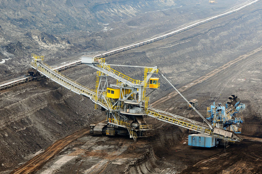 aerial view in coal mine with bucket wheel excavator. destruction of nature. fossil energy. Industry Mining High Angle View Fuel And Power Generation Coal Mine Quarry Coal Outdoors Transportation Tagebau Braunkohle Braunkohletagebau Fossil Energy Bucket Wheel Excavator Schaufelradbagger Machinery Construction Industry Environmental Issues Fossil Fuel Mine