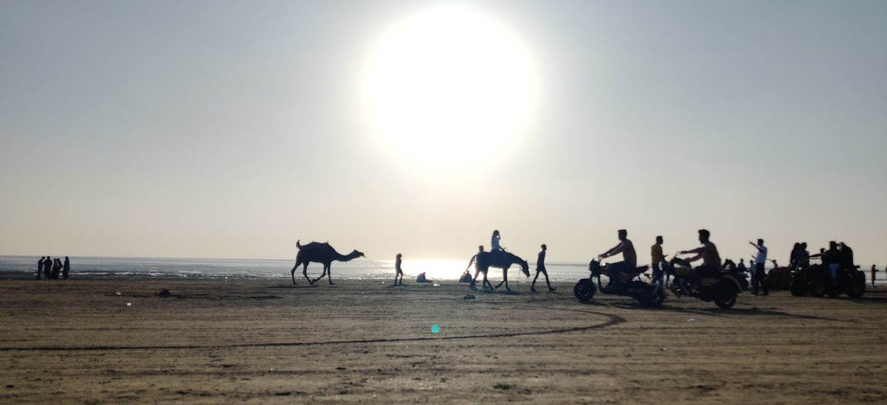 GROUP OF SILHOUETTE PEOPLE ON BEACH