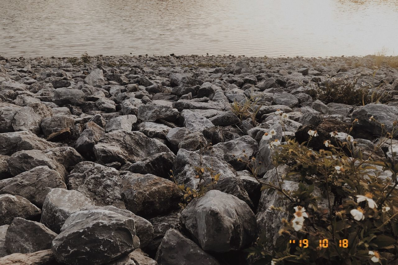 rock, solid, water, sea, rock - object, nature, beach, no people, land, day, stone, stone - object, high angle view, beauty in nature, pebble, tranquility, outdoors, scenics - nature, tranquil scene, rocky coastline